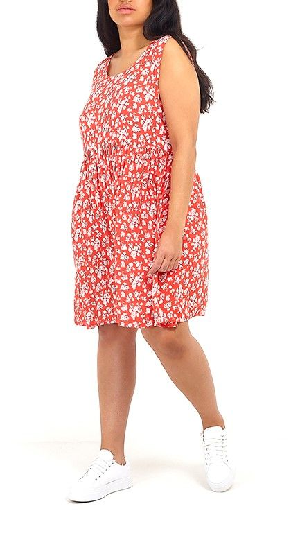 PLUS SIZE DITSY FLORAL PRINT RED SMOCK DRESS