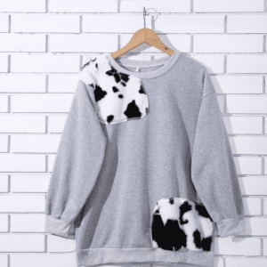 Cow print patch jumper