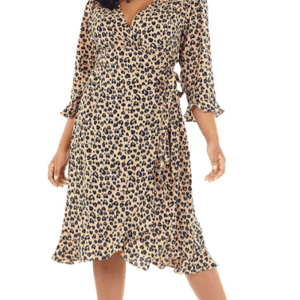 PLUS SIZE HEART PRINT MIDI WRAP DRESS