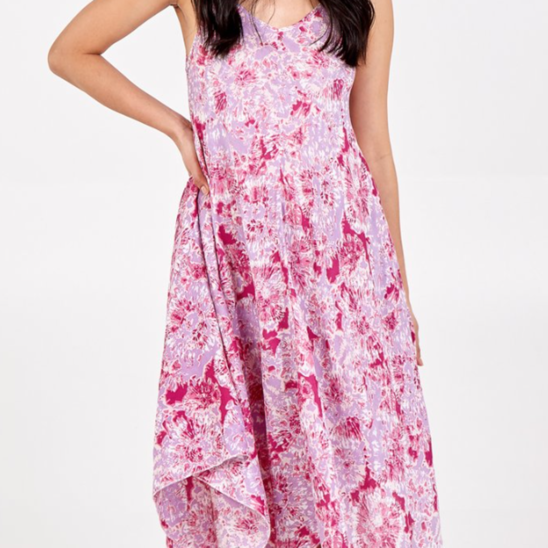 Tie Dye Print Hanky Hem Dress
