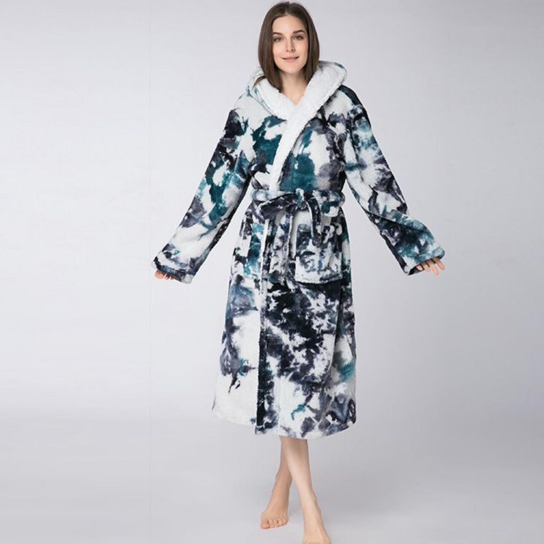 Hooded Bath robe in tie-dye